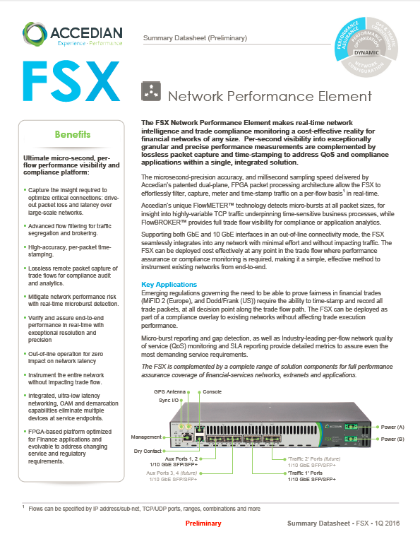 FSX Network Performance Element for Financial Network Compliance
