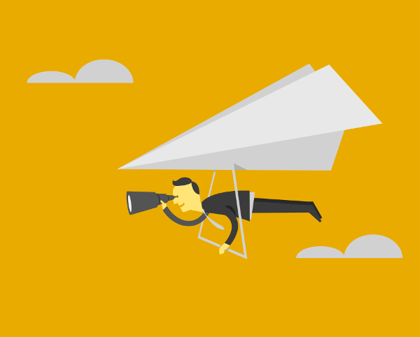 Illustration of businessman in suit looking through a spyglass while riding a hang-glider made of a paper airplane, against yellow background.