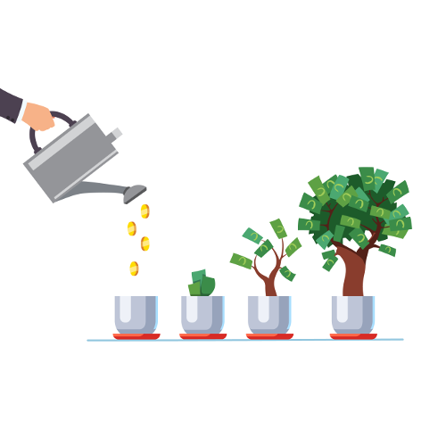 Illustration of business person's hand using gray watering can to water coins into a pot, shown growing gradually into a money tree