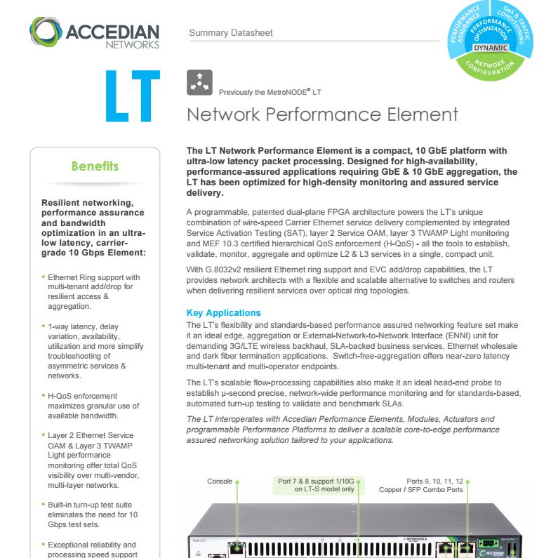 LT Network Performance Element - Accedian