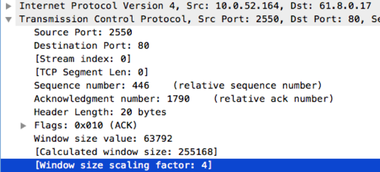 TCP Window Size information seen in Wireshark
